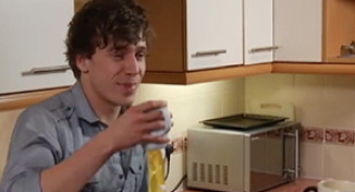 Image of Daniel talking to Rose in the kitchen